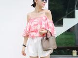 外贸原单女装韩国真丝露肩上衣印花t恤女东大门夏装 代理一件代发