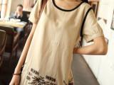 民族风女装 创意款刺绣黑色包边棉麻短袖T恤女 服装清仓