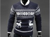 外贸EBAY热卖 新款男式圆领小鹿毛衣圣诞必备毛衣 套头毛衣