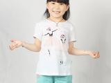 夏季童装批发 外贸韩版纯棉女童短袖T恤 可爱卡通美少女芭蕾