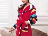 高档品牌法兰绒睡衣批发 女式时尚条纹保暖彩棉绒家居服套装3652