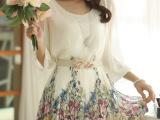 2014春新款系带公主裙韩版女装七分袖雪纺印花连衣裙 送腰带