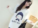 2015秋装新款韩版大码女装中长款卡通T恤女 女式长袖衫体恤上衣