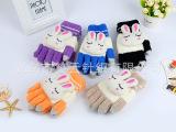 儿童五指手套高弹性卡通手套 可爱兔子装饰手套批发 量大优惠