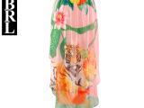 2014春夏新款欧美大牌街头风个性印花虎头前短后长雪纺半身长裙