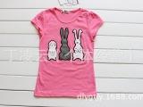 2014夏季新款 外贸童装 韩国 儿童纯棉三个小兔子 短袖 T恤