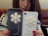 iPhone4大花朵手机壳批发 镶钻苹果手机保护套 微信代理ip