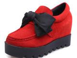 春秋季内增高蝴蝶结甜美浅口松糕鞋厚底磨砂牛皮低帮鞋中跟皮鞋