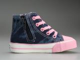 供应拉丁宝贝女童帆布鞋批发 新款高帮系带儿童秋鞋 可爱公主童鞋