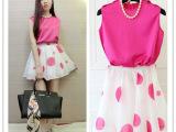 夏季新款时尚韩版背心+欧根纱波点高腰裙套装6005#