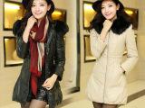 2014韩版冬季新品中长款修身加厚大毛领羽绒棉衣外套女 皮衣女
