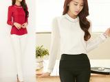 2014秋装新款大码蕾丝上衣女长袖打底衫韩版时尚雪纺衬衫 直销
