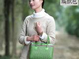 2014夏秋新款 时尚休闲 真皮女包 森林系 日系 B家真皮编织