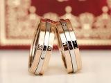 钛钢镀14K金 我们的纪念日 可调日期 情侣 旋转日历戒指