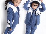 2014冬款童套装大卫衣三件套卡通熊猫中大男女休闲儿童韩版童装