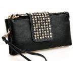 厂家直销潮女黑色包可爱女包铆钉手拿包晚宴包长款女式包 举报
