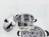 厂家直销 不锈钢双层蒸锅|带磁单底28cm蒸汤锅|玻璃盖多用锅