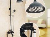 全铜黑色淋浴花洒套装 可升降欧式黑古铜太阳花洒 入墙花洒