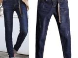 广东工厂库存牛仔裤尾货市场大量低价韩版小脚牛仔裤批发