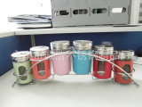 带架不锈钢玻璃调味瓶六件套,调味盒、调味罐,可视开窗设计