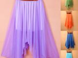 2015大码半身裙波西米亚沙滩裙不规则雪纺中裙仙女裙夏季裙子批发