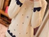 3MT007韩版新款日系羊毛衫星星马海毛长袖圆领针织衫外套毛衣女