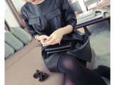 小宜独家定制 2014秋装新款女装 中袖皮裙 连衣裙宽松欧美大牌