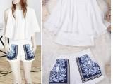 欧美夏季女装新款欧洲站蝙蝠袖宽松上衣+印花短裤套装