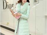 2014冬季新款超大毛领外套修身中长款羽绒服女 加厚优雅棉服女款