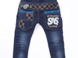 【小酷熊】冬款中小男童加绒加厚牛仔裤 后口袋绣花童裤 一代代发