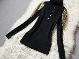 欧洲站2014冬季女装新款 潮流蕾丝金线镂空套头打底高领毛衣女