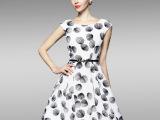 2015夏装新款白色印花雪纺无袖连衣裙 修身显瘦连衣裙高档连衣裙