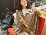 英伦风 时尚潮人必备百搭双面格子羊绒羊毛围巾披肩加宽加大G587