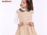 巴布豆童装女童秋装连衣裙11**儿童连衣裙短袖羊毛韩版裙子