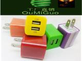 贺新店双USB口充电器 手机充电头 1A/2A 双U大绿点充通用