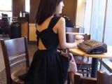 露背露肩无袖修身显瘦吊带裙 黑色露背连衣裙 小黑裙