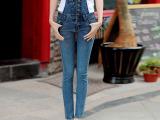 厂家直销2015新款实拍女式女式牛仔背带裤牛仔连体裤