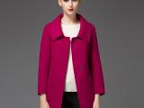 2015高端秋季双面呢羊毛中长款大衣女显瘦双面羊绒大衣外套批发