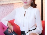 一件代发2014春装新款韩版修身镶钻长袖雪纺衫 女上衣 雪纺女衬