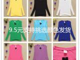 2014秋冬新款韩版长袖T恤 库存地摊女装加绒长袖 厂家直销批发
