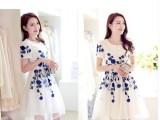 夏装新款 韩版修身女装连衣裙女 短袖女式绣花中长款裙子夏