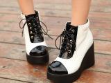 道拉 真皮牛皮2014短靴 拼色潮靴 松糕厚底女鞋舒适坡跟女靴子