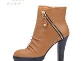 广州品牌女鞋2013冬季新款头层牛皮高跟短靴 欧美厚底防水台女靴