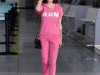 夏装运动服套装女装 韩版修身2014新款卫衣短袖长裤休闲两件套装