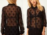 1460 欧美女装十字架植绒印花黑色网纱透感长袖女衬衫