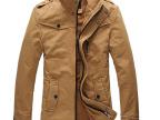 秋冬装男士立领中长款时尚修身夹克抓绒夹克男装休闲夹克男加厚