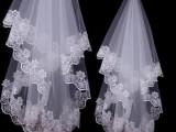 批发新娘头纱1.5米白色单层蕾丝电脑蕾丝花边美国网纱厂价直销