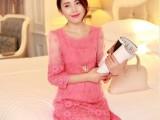 2014春装女装新款时尚甜美修身欧根纱中长款七分袖蕾丝连衣裙