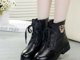2014新款女靴欧美时尚真皮马丁靴 防滑厚底豹子头棉靴 短靴批发