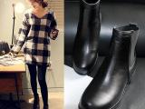 2014秋冬女靴子韩国明显同款真皮中跟圆头短筒平底粗跟马丁靴微信